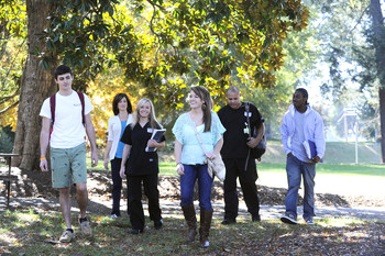 LC students walking on campus